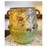 RARE Antique Double Handled ROSEVILLE Blackberry Pottery Vase