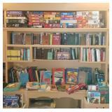 Shelves full of vintage books