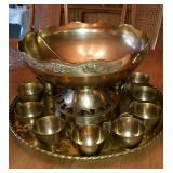 BEAUTIFUL Brass punch bowl set