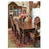 STUNNING formal dining table and matching lighted china hutch