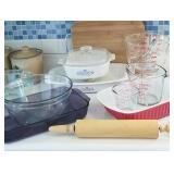 Pyrex, Corningware, bakeware, etc...