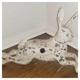 Antique Carved Wooden Bunny Bird Feeder
