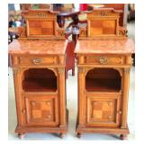 Stunning french antique side tables with marble tops