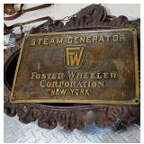 Bronze plaque Foster Wheeler steam generator from U.S. Navy ship