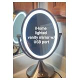 iHome lighted vanity mirror with USB port