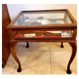 COOL shadow box table full of collectible antiques (1800