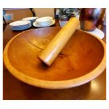 antique dough bowl with rollwe
