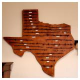 Cool wooden Texas wall hanging with antique barbed wire