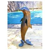 Large brass dolphin ~ SUPER COOL PIECE !!!