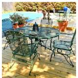 2 great meatal outdoor patio table sets with umbrellas
