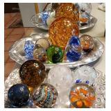 SEVERAL beautiful glass paperweight balls