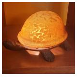 LIGHTED iron & glass turtle