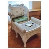 White wicker chair and ottoman