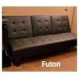 Nice black leather futon