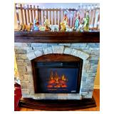 Beautiful stone electric fireplace can heat up to 1,000 sf