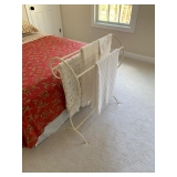 Painted White Metal Quilt Rack $40.00 Blankets NFS