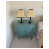 Sweet Blue Side Table/Night Stand $50 Pair of Table Lamps $55