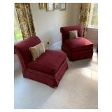 Pair of Merlot Upholstered Rolled Back Slipper Chairs $185 PR