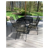 Black Metal Outdoor Patio Table w/ 6 Chairs and Umbrella $550.00