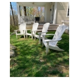 Set of 4 White composite weather friendly Adirondack Chairs $425.00