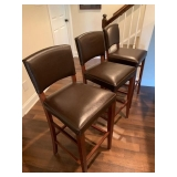 """Pier 1 Brown Leather Bar Stools 42"""" to back/30"""" to top of seat 3 for $250"""