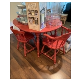 Red Painted Colonial Table and 4 Chairs $150
