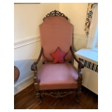 PINK UPHOLSTERED AND STUDDED BARONIAL CHAIR $150