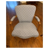 ADORABLE BLUE AND WHITE ANTIQUE ARM CHAIR $80