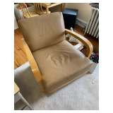 Leather and Wood Modern Chairs $175 Pair