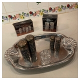 Wilton Armetele Tray $25, NIB S/P Shakers $14 Each, Other S/P Shakers  $10 Each