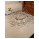 Punch Bowl and Cups $22