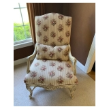 White Painted Upholstered Bergere Chair $250