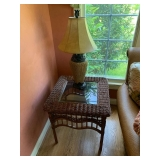 Rattan and Glass Top Side Table $90 and Lamp $50