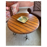 Round Wood Top and Metal Base Coffee Table $185