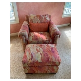 Pair of Upholstered Arm Chairs with Ottomans $425 Pair