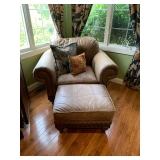 BASSETT Leather Chair and Ottoman $550