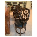 Black Leather Seat and Wood Arm Bar Stools $525 for 4