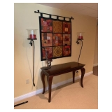 Console Table $135, Wall Candle Sconces $75 Pair, Decorative Sax $40 and Patchwork Hanging $65