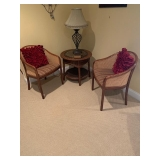 3 Caned Barrel Back Chairs $180 for 3 and Rattan Oval Table $65