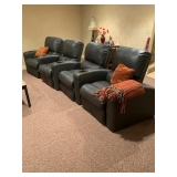 4 Gray Leather Reclining Theater Seats $925