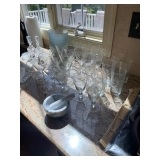 mortar & pestle $24, set of 23 Etched Fostoria Stemware and Water Glasses $55