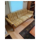 "HofD Yellow, White and Blue Teak and Upholstered Sofa 78""x30"" $450"