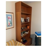 "PAIR of HofD Teak Bookcases with fold down desk area and storage 35""x85""  $450 ea"
