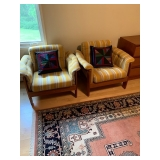 "PAIR of HofD Upholstered and Teak (Matches Sofa) Arm Chairs 29""x35"" $300Ea"