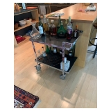 "Frederic Ruyant for Ligne Roset Stainless Steel Trolley Rolling Bar Cart 29""x31""x17.75"" $750"