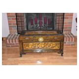 carved wood chest
