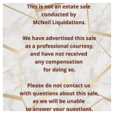 McNeil Liquidations is advertising this sale as a professional courtesy.