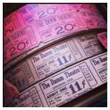 Rolls of vintage movie tickets