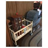 Vintage doll bed, buggy, cradle