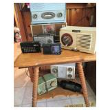 Antique Oak Table with Radio Collections